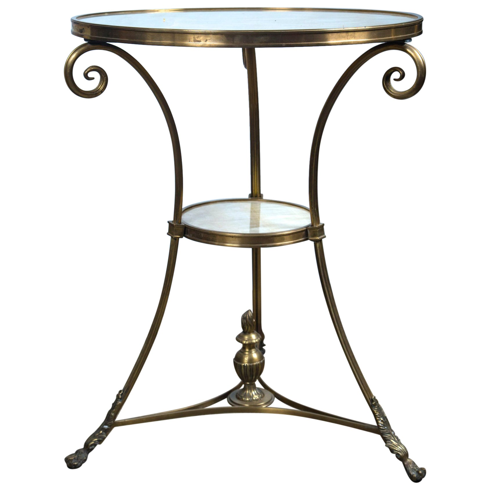 Pair of Brass and Onyx 2-Tier Gueridon Tables