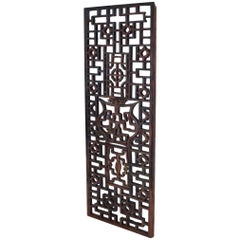 Oriental Asian Rosewood Wall Sculptural Antique Panel Screen