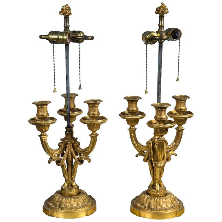 Pair of Gilt Bronze Boulliat Lamps For Sale
