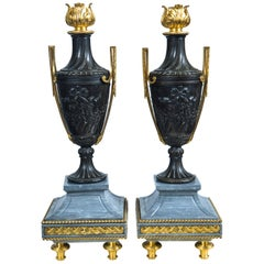 Pair of Late 18th Century Gilt Bronze, Patinated  Bronze and Marble Urns