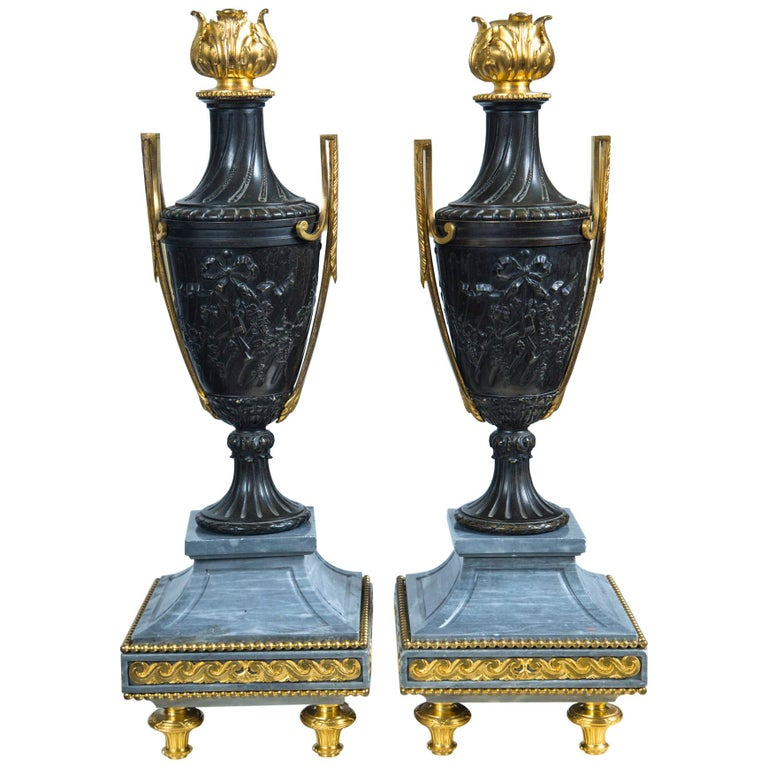 Pair of Late 18th Century Gilt Bronze, Patinated  Bronze and Marble Urns For Sale