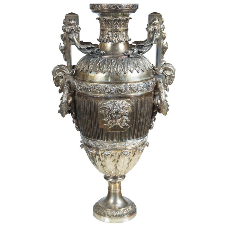 Probably Russian Silver Plated Bronze Urn For Sale