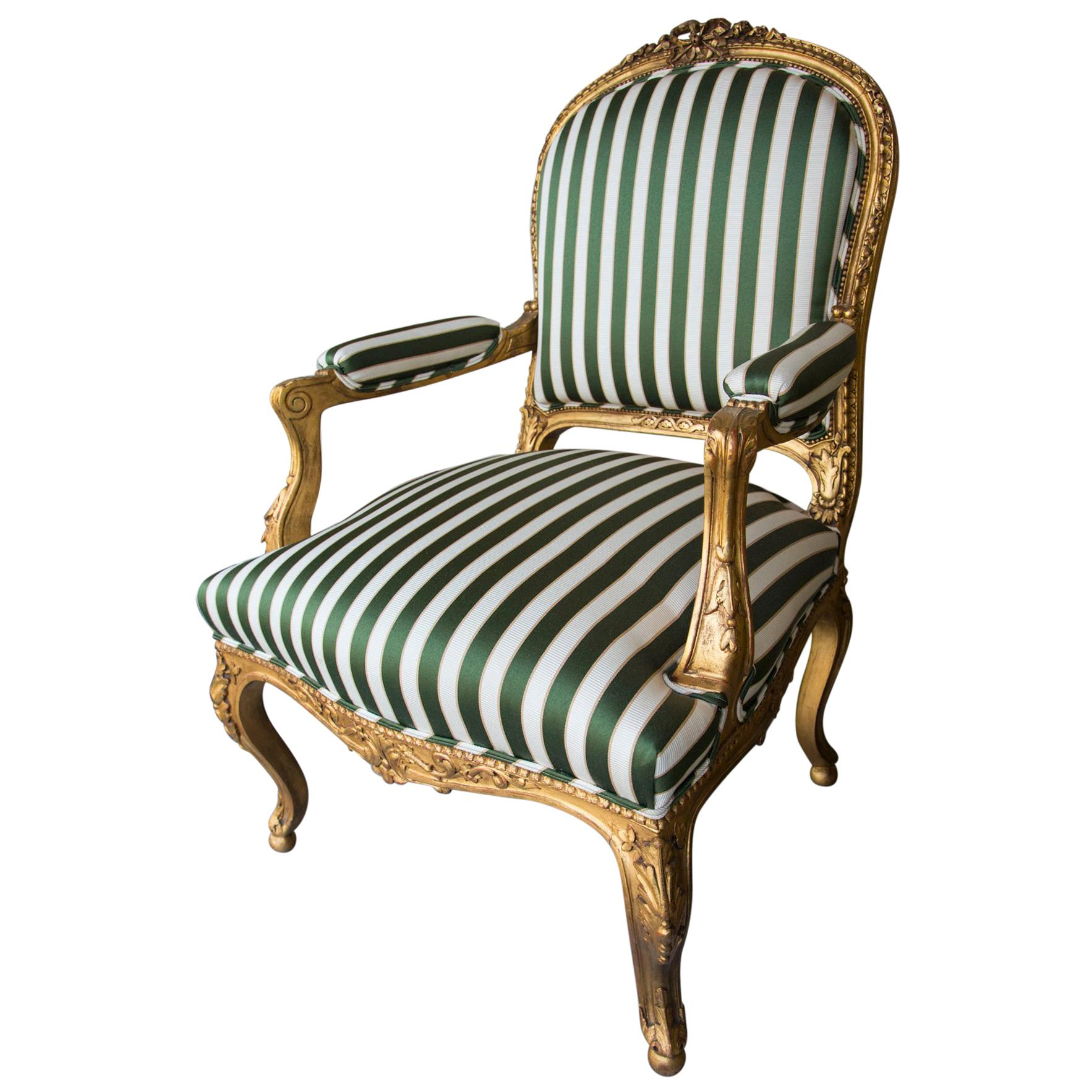 Pair of Giltwood Louis XV Style Fauteuils