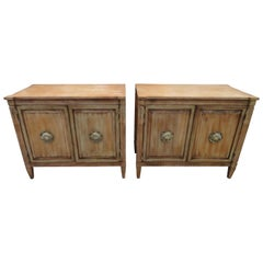 Stunning Pair of Neoclassical Distressed Bachelors Chests Hollywood Regency
