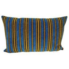 Blue Yellow Striped Cotton Velvet Pillow Napoleon III French