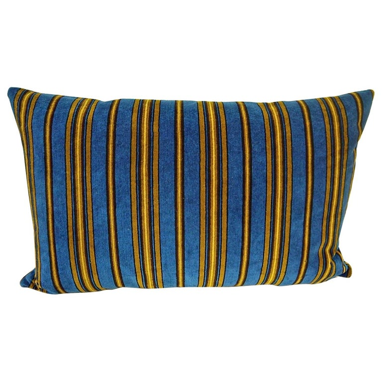 Blue Yellow Striped Cotton Velvet Pillow Napoleon III French For Sale