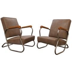 1930s Industrial Modern Chrome Club Chairs