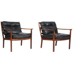 Fredrik Kayser Lounge Chairs in Rosewood and Black Original Leather, 1960s