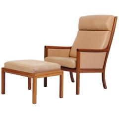 Ole Wanscher Lounge Chair with Ottoman, Nature Leather Poul Jeppesen, 1960s