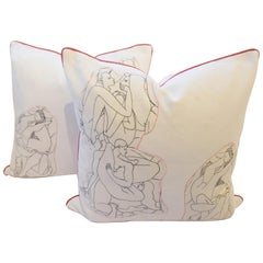 Throw Pillows with Nude Line Drawing Appliqué