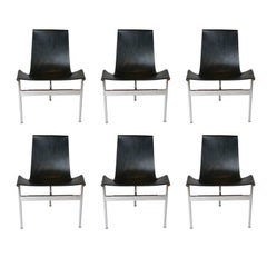 "Set of 6 1952 Katavolos Kelley & Littell for Laverne ""T"" Chairs in Black Leather"