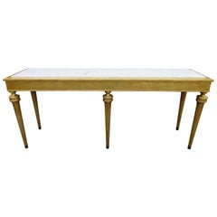 Fabulous Jansen Style Hollywood Regency Marble-Top Gilded Gold Console Table