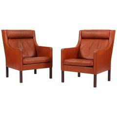 Børge & Peter Mogensen Pair of Lounge Chairs in Cognac Leather, Model 2431