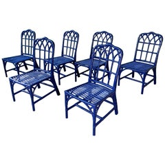 Set of Six Vintage McGuire Bamboo Cathedral Dining Chairs