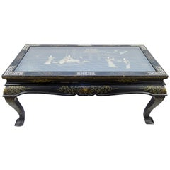 Vintage Chinese Black Lacquer Folding Wood and Mother of Pearl Coffee Table