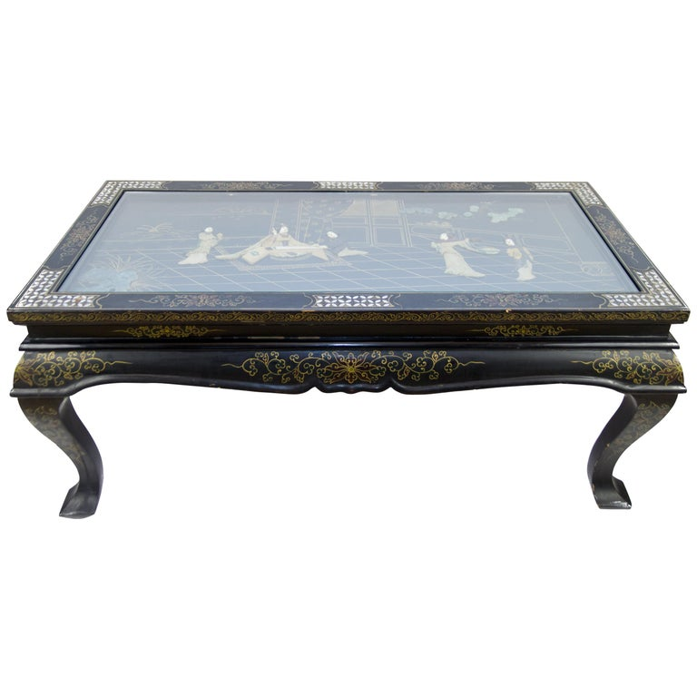 Black Lacquer Coffee Table Uk: Vintage Chinese Black Lacquer Folding Coffee Table For