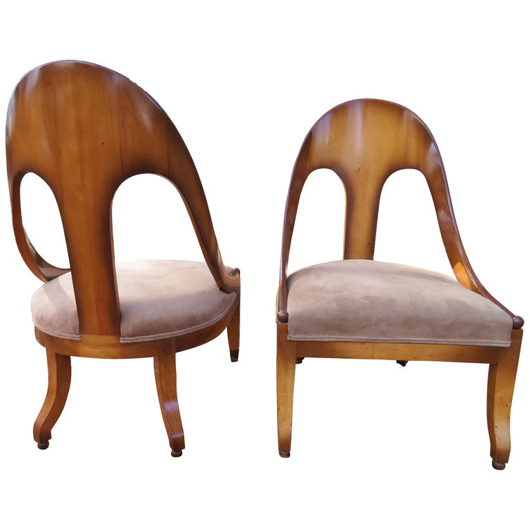 Wonderful Pair of Michael Taylor for Baker Spoon Back Neoclassical Chairs For Sale