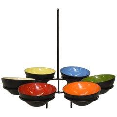 Mid-Century Modern Centerpiece Enamel Bowls Krenchel Krenit Attribution