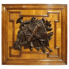 19th Century Panel with Mounted Trophy Carving