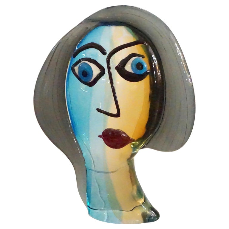 Formia 1980s Modern Italian Colored Murano Glass Woman Head Sculpture For Sale