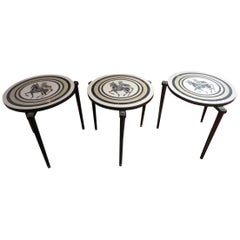 Charming Set of 3 Piero Fornasetti Style Stack Nesting Table Mid-Century Modern