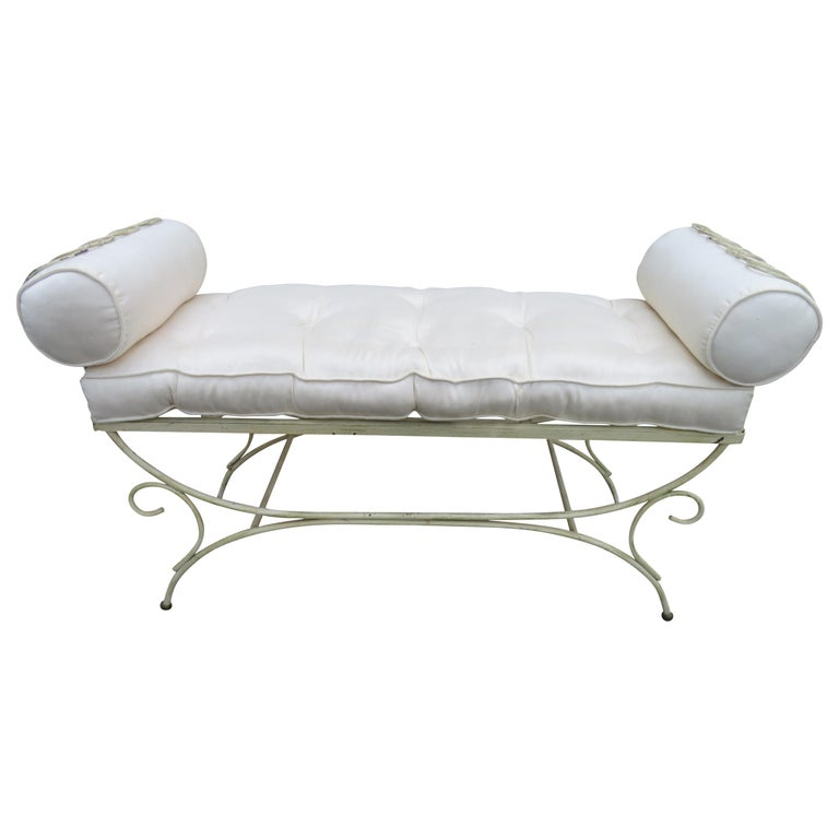 Midcentury Italian Wrought Iron Scroll Arm Bench For Sale