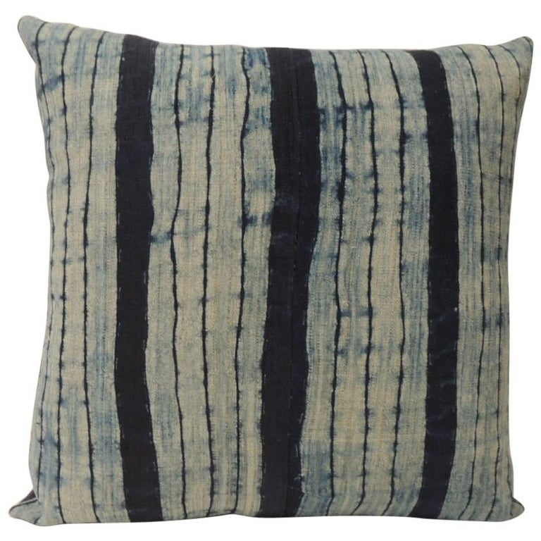 Vintage Shibori Stripe Blue Asian Square Decorative Pillow For Sale