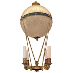 Wonderful French Neoclassical Bronze Crystal Hot Air Balloon Fixture Chandelier