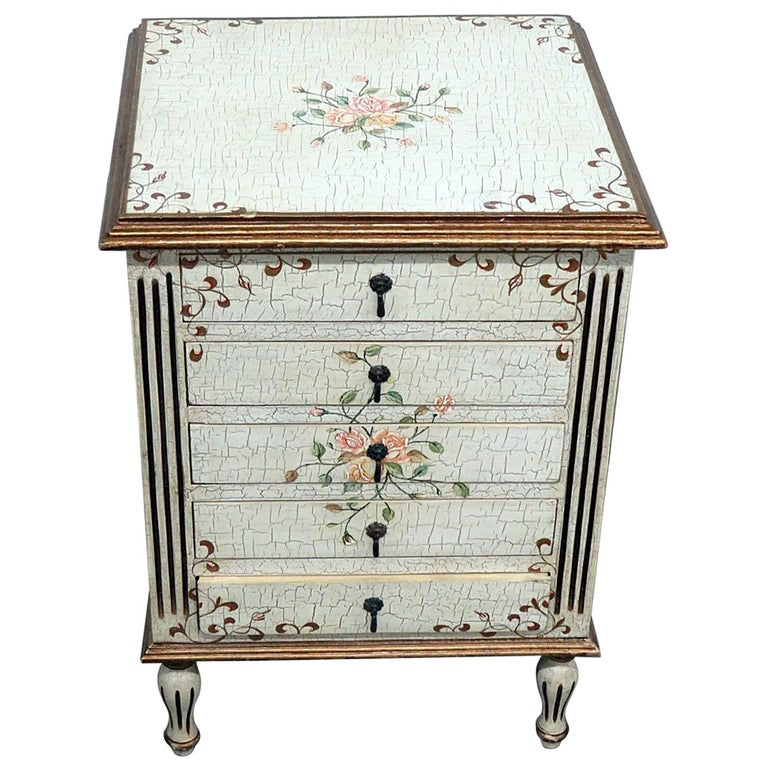 Louis XVI Style Paint Decorated Commode For Sale