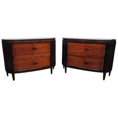 Pair of Art Deco Slate Top Demilune Commodes