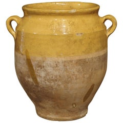 Yellow Glazed Antique French Terracotta Confit Pot
