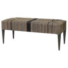Pewter Tribal Bench Handcrafted with Natural Woven Rope