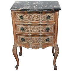 Antique Carved Louis XVI Style Marble Top Night Stand Table