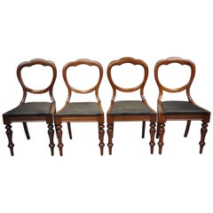 Antique 19th Century English Victorian Balloon Back Mahogany Library Side Chairs