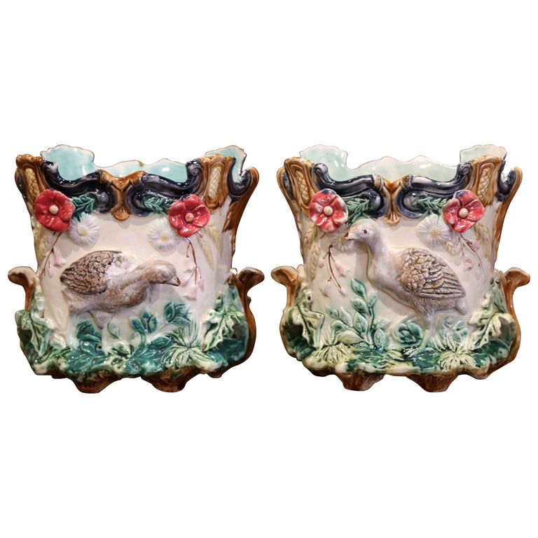 Pair of 19th Century French Barbotine Cachepots with Bird and Floral Decor For Sale
