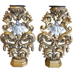 Pair of Baroque Style Giltwood and Silver Gilt Candlesticks