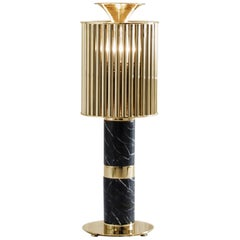 Delightfull Donna Table Light in Brass with Black Marble Base