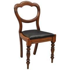 19th Century English Victorian Balloon Back Mahogany Library Side Chair 'A'