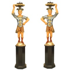Pair of Italian Venetian Painted Blackamoor Figures