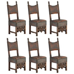 Six Spanish Dining Chairs Late 18th Century Renaissance