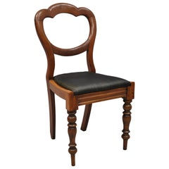 19th Century English Victorian Balloon Back Mahogany Library Side Chair 'B'