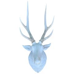 Painted 19th Century Continental Carved Wood Mounted Stag Head