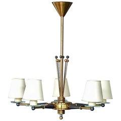 Large Five-Light Maison Jansen Sputnik Chandelier Brass Glass Blue Gunmetal 1955