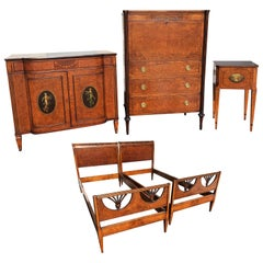 Five-Piece Custom Mahogany and Walnut Bedroom Set by Joseph Gerte, Boston MA