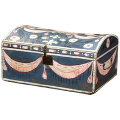 18th Century French Normandy Painted Wedding Trunk with Bird and Swag Motifs