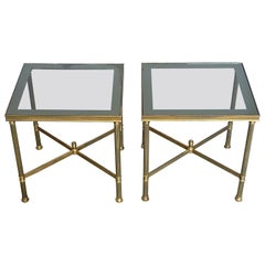 Pair French Midcentury Side Tables by Maison Jansen Patinated Brass Mirror Glass