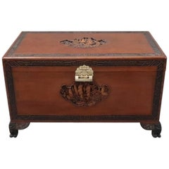 Early 20th Century Oriental Camphor Wood and Teak Chest