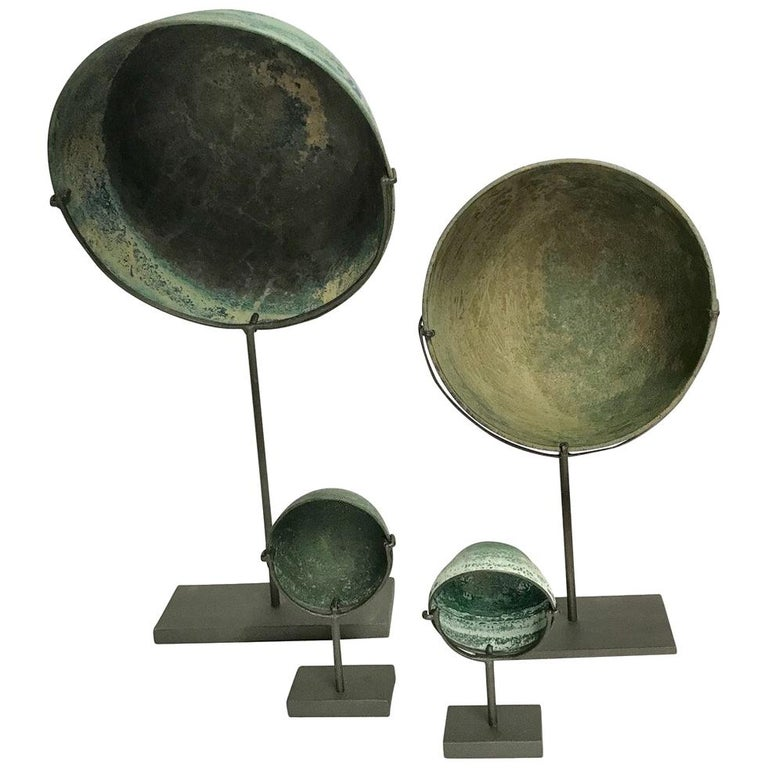 16th Century Collection of Four Bronze Bowls, Cambodia For Sale