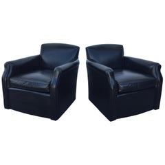 Pair of Black Leather Swivel Armchairs by Hickory Chair Co.
