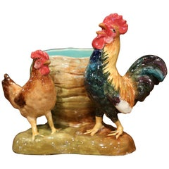19th Century French Painted Barbotine Rooster and Hen Vase Signed Dephin Massier